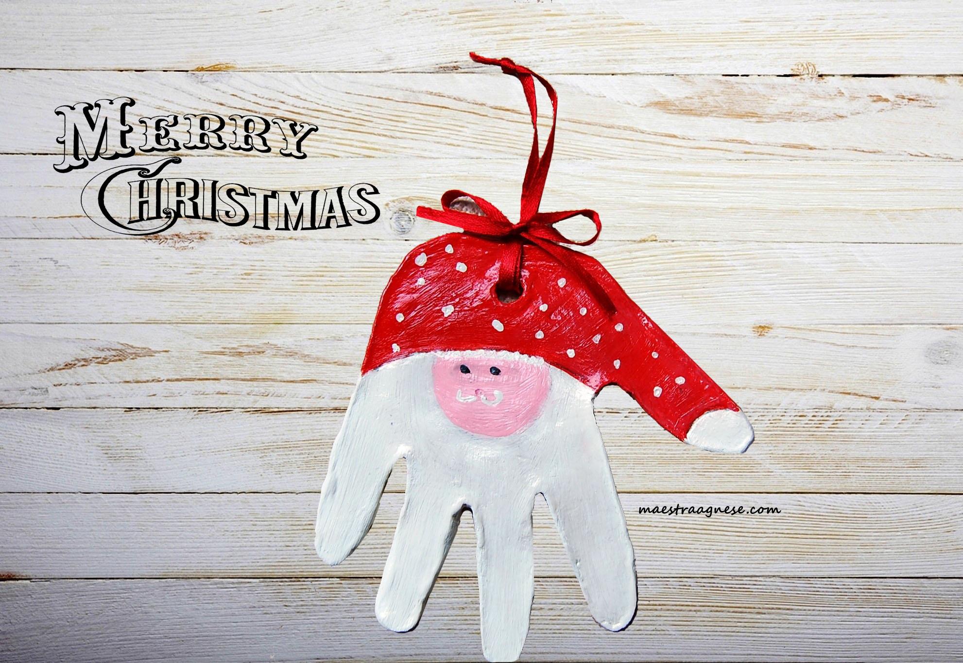 Lavoretti Di Natale Con Le Impronte Delle Mani.Babbo Natale Con L Impronta Della Manina